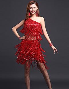 라틴 댄스 의상 여성용 성능 폴리에스터 6 개 민소매 높음 탑 스커트 팔찌
