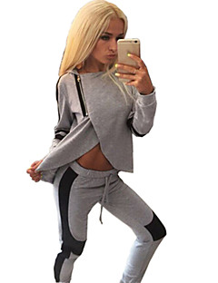 Women's Solid Gray Hoodies , Sexy / Cute Round Neck Long Sleeve