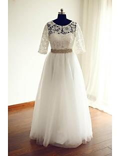A-line Wedding Dress Floor-length Jewel Lace / Tulle with Beading / Lace / Sash / Ribbon