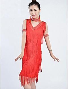 Latin Dance Dresses Women's Performance / Training Chinlon Tassel(s) 1 Piece