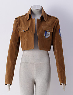 Inspirado por Attack on Titan Eren Jager Animé Disfraces de cosplay sudaderas Cosplay Un Color / Estampado Amarillo Manga Larga Abrigo