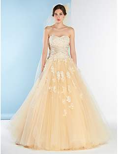 Lanting A-line Wedding Dress - Champagne Court Train Sweetheart Lace / Tulle / Charmeuse