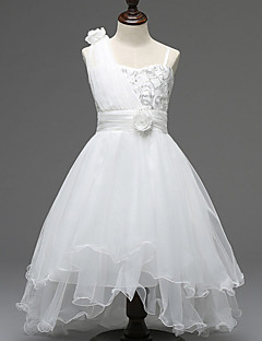 A-line Asymmetrical Flower Girl Dress - Tulle / Polyester Sleeveless One Shoulder with