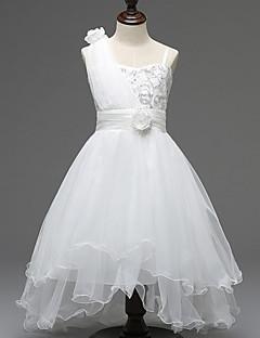 A-line Asymmetrical Flower Girl Dress - Tulle / Polyester Sleeveless