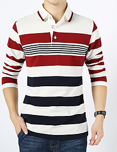 Men's Long Sleeve Polo , Cotton Casual / Work / Formal / Sport / Plus Sizes Striped Long sleeved T shirt striped cotton