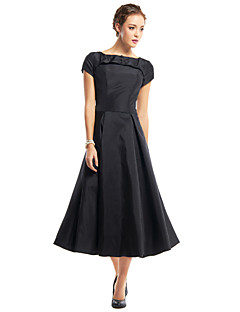 TS Couture Cocktail Party Dress - Little Black Dress A-line Scoop Tea-length Taffeta with Buttons Draping