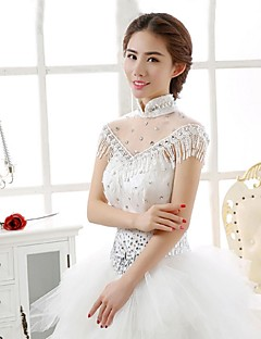 Wraps Wedding Mantelline Senza maniche Pizzo / Tulle / Paillettes Bianco Matrimonio / Da sera DolcevitaCon perline / Con cristalli /