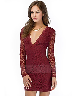 Women's Sexy / Lace Solid Dress , Deep V Above Knee Rayon / Polyester
