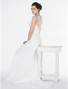 lanting - A 라인 웨딩 드레스 - 아이보리 법원 기차 V 넥 쉬폰
