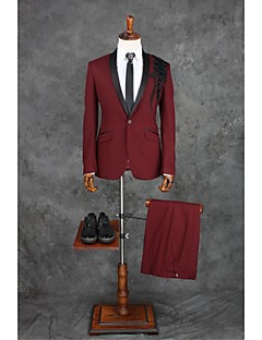 Suits Tailored Fit Shawl Collar Single Breasted One-button Polyester Patterns 2 Pieces Burgundy Straight Flapped Double (Two) Double (Two)