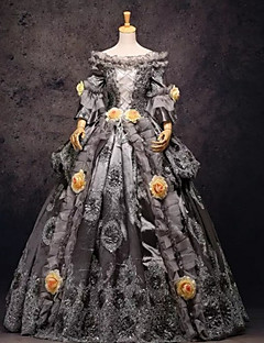 One-Piece/Dress Gothic Lolita Steampunk® / Victorian Cosplay Lolita Dress Gray Patchwork / Vintage Long Sleeve Long Length Dress For Women