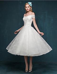 A-linje brudekjole liten hvit kjole te-lengde uten skulderblonder med applikasjoner beading sequin