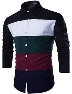 Men's Long Sleeve Shirt , Cotton / Polyester / Nylon Casual / Work Striped LENCH19
