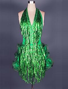 ריקוד לטיני שמלות בגדי ריקוד נשים ביצועים סאטן שיפון מודאלי קפלים חלק 1 בלי שרוולים שמלות 75-96