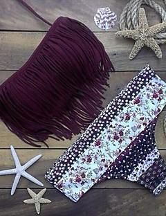 Polyester - Beha zonder vulling - Bandeau - Bikini - Kleurenblok / Kwastjes - Vrouwen