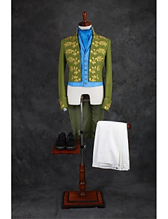 Suits Tailored Fit Mandarin Collar No Buttons Cotton Blend Patterns 4 Pieces Green None Double (Two) Double (Two) Embroidery