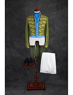 Garnitury Dopasowana Kołnierzyk chiński Bez guzika Mieszanka bawełny Wzór 4 części Zielony Hiçbiri Dwie plisy Dwie plisy Haft