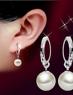 Damen Tropfen-Ohrringe Perle Basis Geburtssteine Modisch Simple Style Perle Sterling Silber Kugel Schmuck FürHochzeit Party Geburtstag