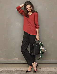 Women's Casual/Daily Simple Fall Shirt,Solid V Neck Long Sleeve Red / White / Black Linen Medium
