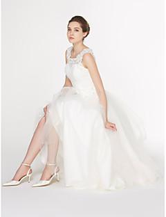 lanting 신부 A 라인 웨딩 드레스 발목 길이 국자 레이스 / 얇은 명주 그물