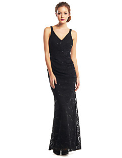 Formal Evening Dress Trumpet/Mermaid V-neck Ankle-length Lace