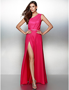 Formal Evening Dress - Fuchsia A-line One Shoulder Floor-length Chiffon