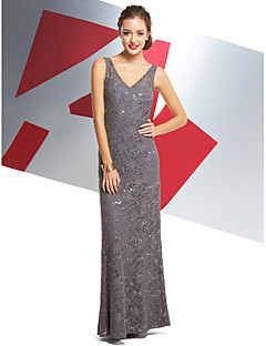 Formal Evening Dress - Silver Trumpet/Mermaid V-neck Ankle-length Lace