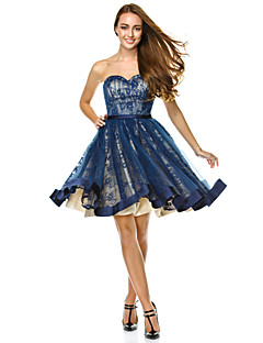 TS Couture® Cocktail Party Dress - Dark Navy A-line Sweetheart Knee-length Tulle