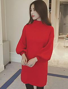 Women's Spring New Turtleneck Loose Lantern Sleeve Pullover Dress