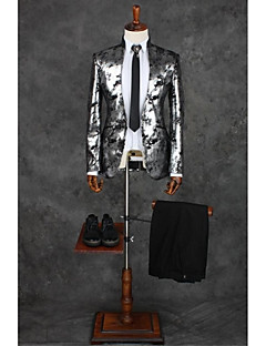 Suits Tailored Fit Mandarin Collar Single Breasted One-button Polyester Patterns 2 Pieces Light Gray
