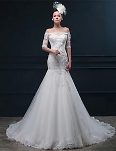 웨딩 드레스 - 아이보리(색상은 모니터에 따라 다를 수 있음) 트럼펫/멀메이드 쿼트 트레인 오프 더 숄더 튤