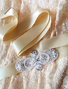 Sateng Bryllup / Fest/aften / Hverdag Sash-Paljetter / Perler / Krystall / Rhinstein Dame 98.5 tommer (ca. 250cm)Paljetter / Perler /