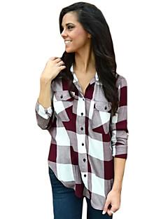 Camicia Da donna Casual Semplice Autunno,Collage Colletto Cotone Rosso Manica lunga Medio spessore