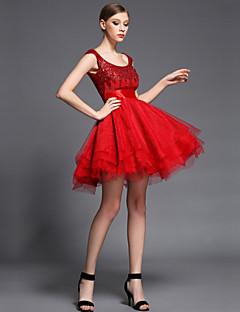 Коктейль-приём Платье - Красный С пышной юбкой Глубокий круглый вырез Короткое/мини Тюль / Шармез / С блестками