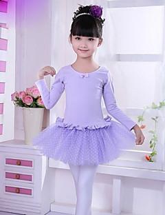 בלט שמלות בגדי ריקוד ילדים ביצועים כותנה / טול שכבות מדורגות / מנוקד חלק 1 ורוד / סגול בלט ללא גב שרוול קצר שמלות