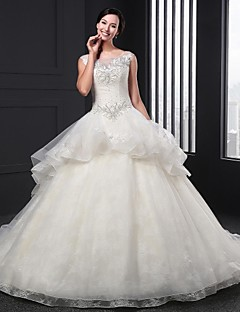 Ball Gown Wedding Dress Chapel Train Jewel Organza with Appliques