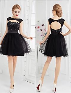 칵테일 파티 드레스 - 블랙 볼 드레스 숏/미니 스쿱 명주그물