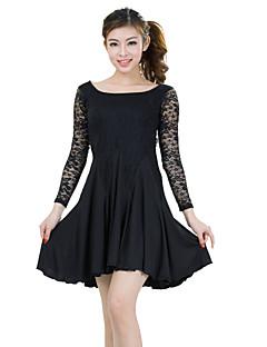 Latin Dance Dresses Women's Training Lace / Milk Fiber Lace 2 Pieces Dress / Shorts S-XXL:82.5-86.5cm