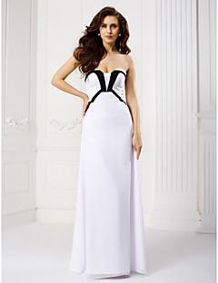 저녁 정장파티 드레스 - 화이트 시스/칼럼 바닥 길이 끈없는 스타일 쉬폰