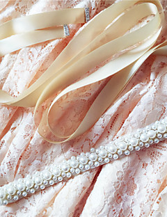 Satin Wedding / Party/ Evening / Dailywear Sash-Beading / Pearls Women's 98 ½in(250cm) Beading / Pearls