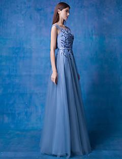 저녁 정장파티 드레스 - 오션 블루 A-라인 바닥 길이 스쿱 레이스 / 명주그물