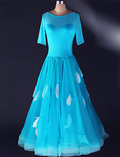 Dança de Salão Vestidos Mulheres Actuação Elastano Pano 1 Peça Vestidos S-4XL:125cm
