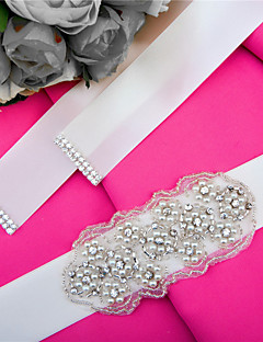 Satin Wedding / Party/ Evening / Dailywear Sash - Sequins / Beading / Appliques / Pearls / Crystal