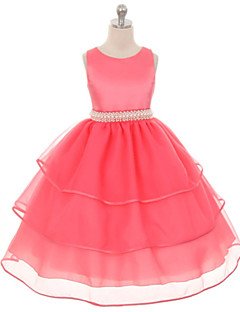 Dívka je Jednobarevné Léto / Jaro / Podzim Šaty Polyester Zelená / Růžová / Fialová / Červená / Bílá