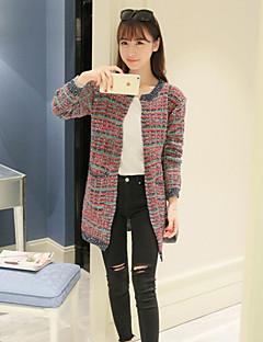 여성 - 캐쥬얼 원형 긴소매 - 스웨터 (혼합면)