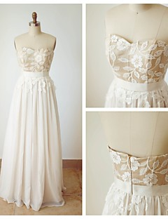 A-linje Sweetheart - Formell Aften Dress - Champagne Gulvlang Chiffon