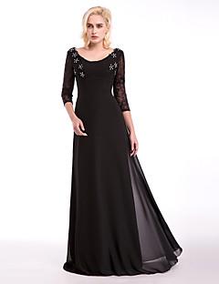 저녁 정장파티 드레스 - 블랙 A-라인 바닥 길이 스쿱 쉬폰 / 레이스 / 엘라스틱 우븐 사틴