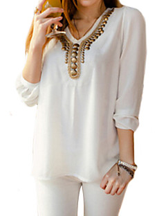 Women's V Collar All Match Long Sleeve Casual Loose Shirt