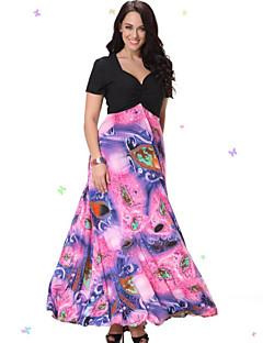 נשים עקומות מתוקות שמלת החוף בתוספת גודל של, צוואר V דפס / טלאים midi קיץ סטרץ / אחרים שרוול קצר ורוד