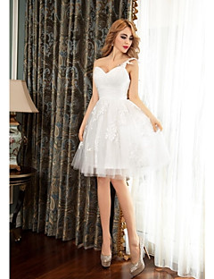 Cocktail Party Dress Ball Gown One Shoulder Short / Mini Tulle with Appliques / Side Draping